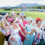 19-7-2017: Contestants in the Rose of Tralee from left, Amy Callaghan, Donegal, Layleigh Maher, Limerick, Aisling McArdle, Yorkshire, Sheila Ryan, Tipperary, Breda O'Mahony, Kerry, Aoife Murray, Clare and Lisa Maloney, Sligo  were special guests at Killarney Races / Roses evening on Wednesday evening. Photo: Don MacMonaglerepro free photo from Killarney Races